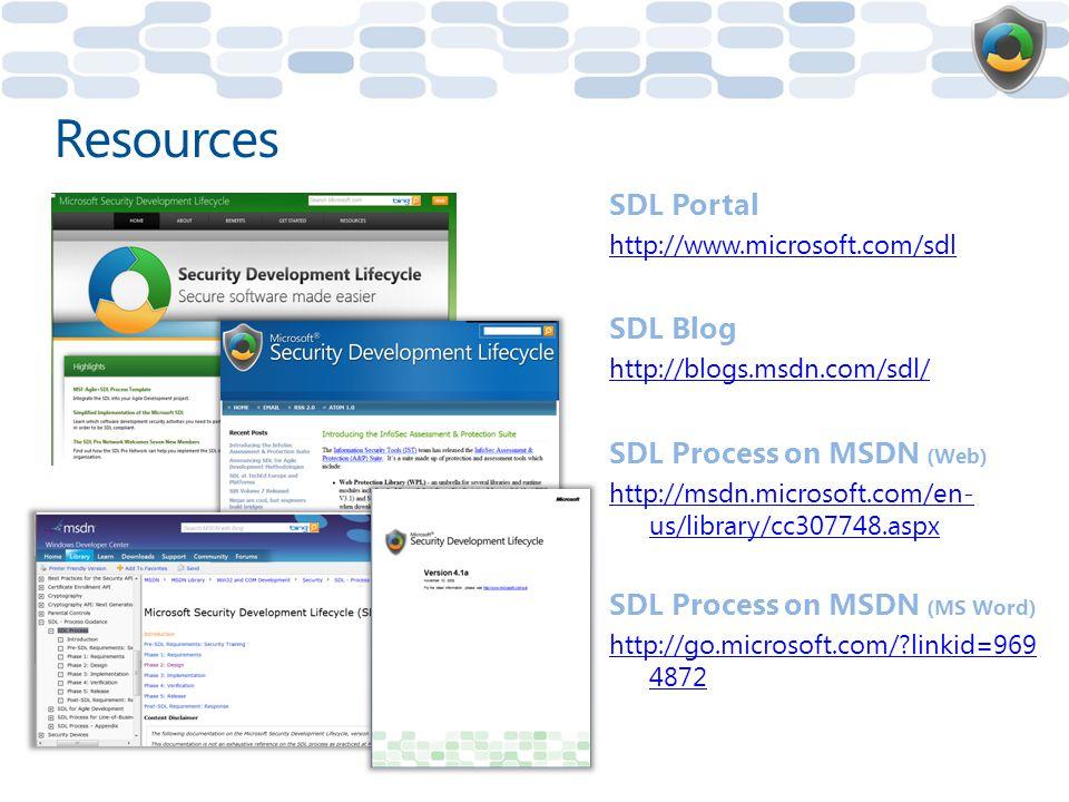 SDL Portal http://www.microsoft.com/sdl SDL Blog http://blogs.msdn.com/sdl/ SDL Process on MSDN (Web) http://msdn.microsoft.com/en- us/library/cc307748.aspx SDL Process on MSDN (MS Word) http://go.microsoft.com/?linkid=969 4872 Resources