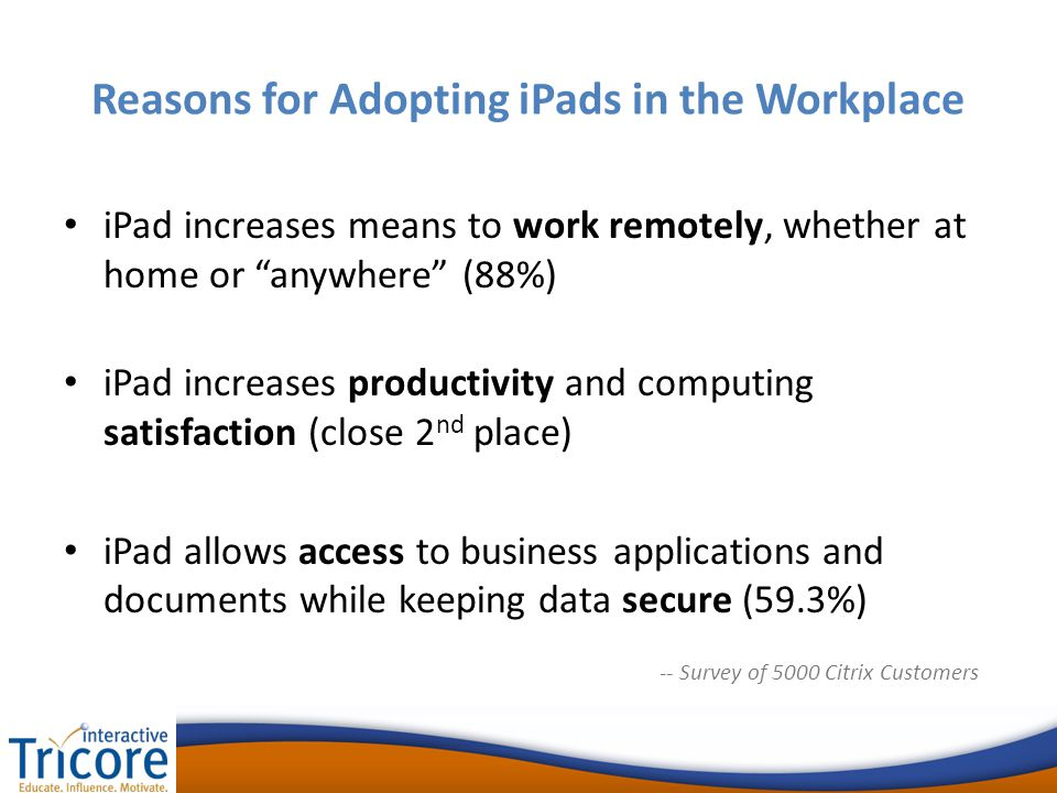Reasons for Adopting iPads in the Workplace iPad increases means to work remotely, whether at home or anywhere (88%) iPad increases productivity and computing satisfaction (close 2 nd place) iPad allows access to business applications and documents while keeping data secure (59.3%) -- Survey of 5000 Citrix Customers