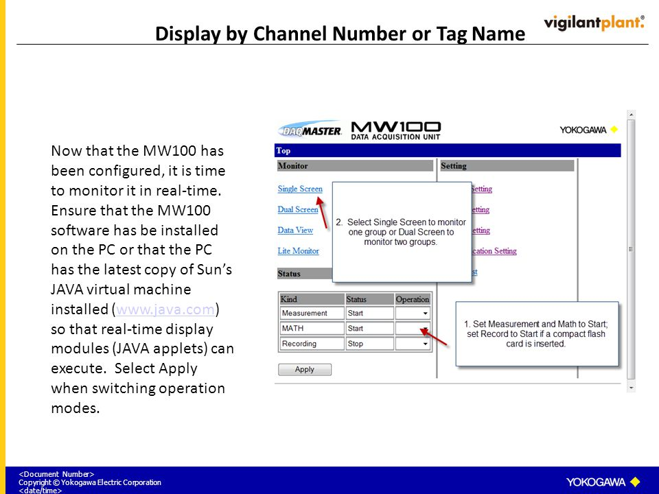Copyright © Yokogawa Electric Corporation Display by Channel Number or Tag Name Now that the MW100 has been configured, it is time to monitor it in re