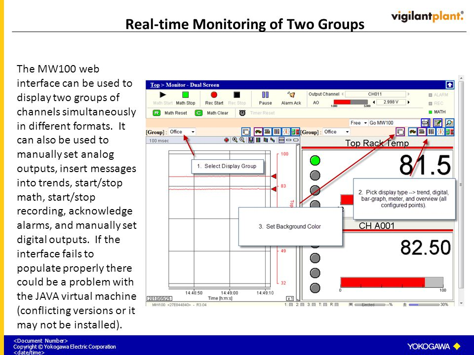 Copyright © Yokogawa Electric Corporation Real-time Monitoring of Two Groups The MW100 web interface can be used to display two groups of channels sim