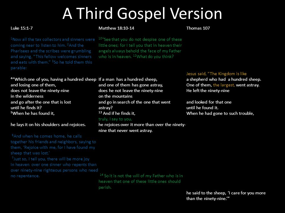 A Third Gospel Version Luke 15:1-7 1 Now all the tax collectors and sinners were coming near to listen to him.