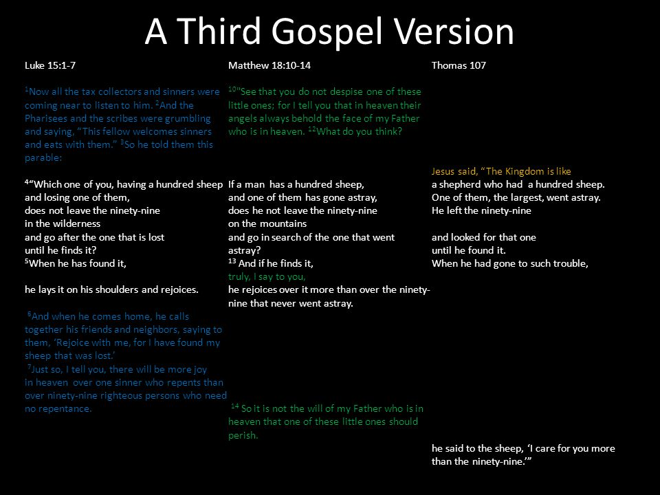 A Third Gospel Version Luke 15:1-7 1 Now all the tax collectors and sinners were coming near to listen to him. 2 And the Pharisees and the scribes wer