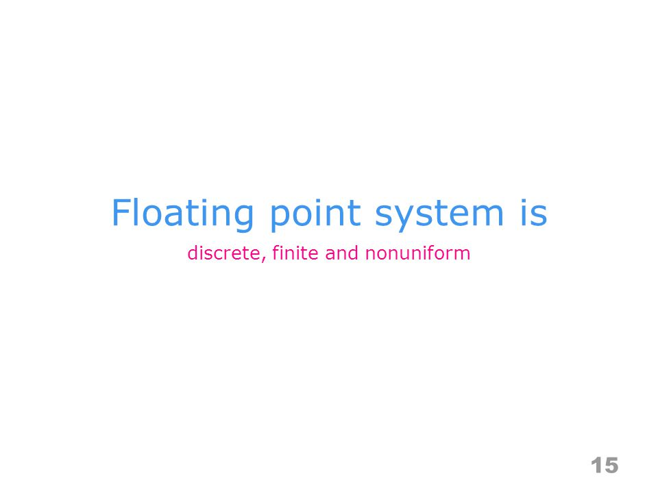 Floating point system is 15 discrete, finite and nonuniform