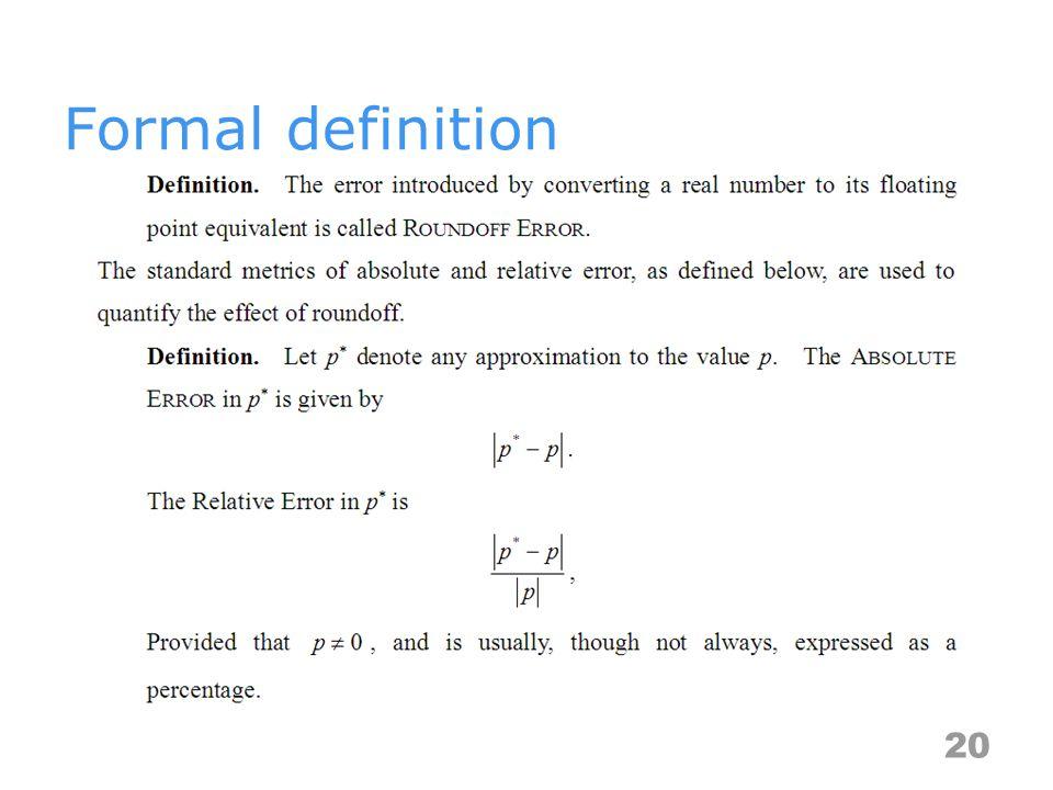 Formal definition 20