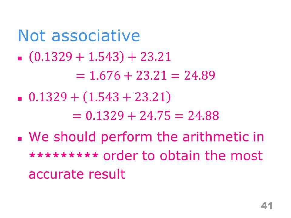 Not associative 41