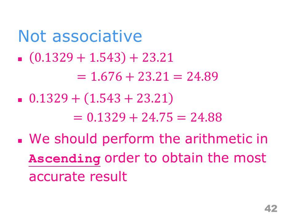 Not associative 42