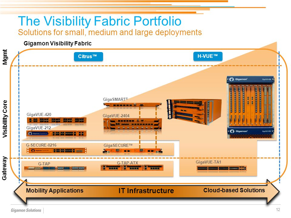 The Visibility Fabric Portfolio Solutions for small, medium and large deployments 12 IT Infrastructure Cloud-based Solutions Mobility Applications Gig