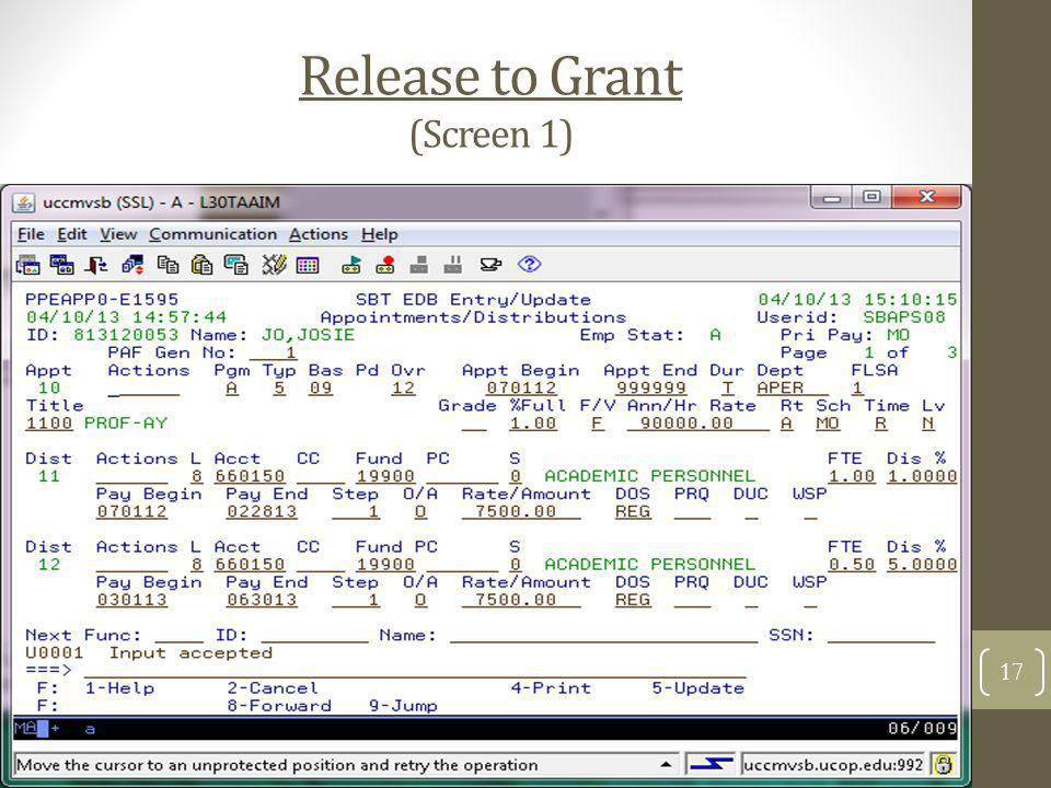Release to Grant (Screen 1) 17