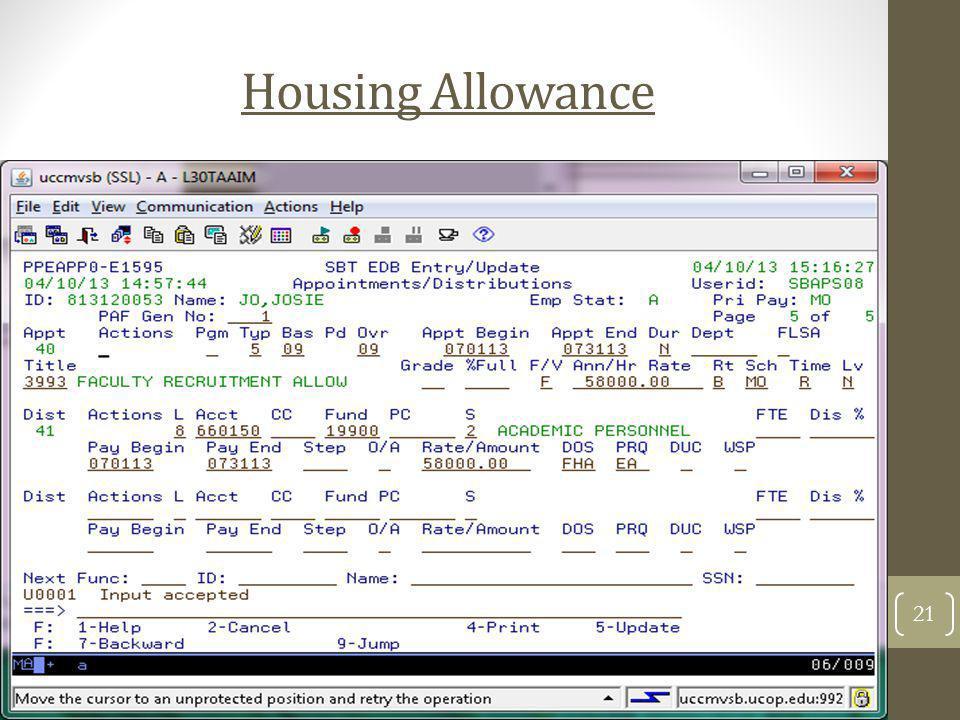Housing Allowance 21