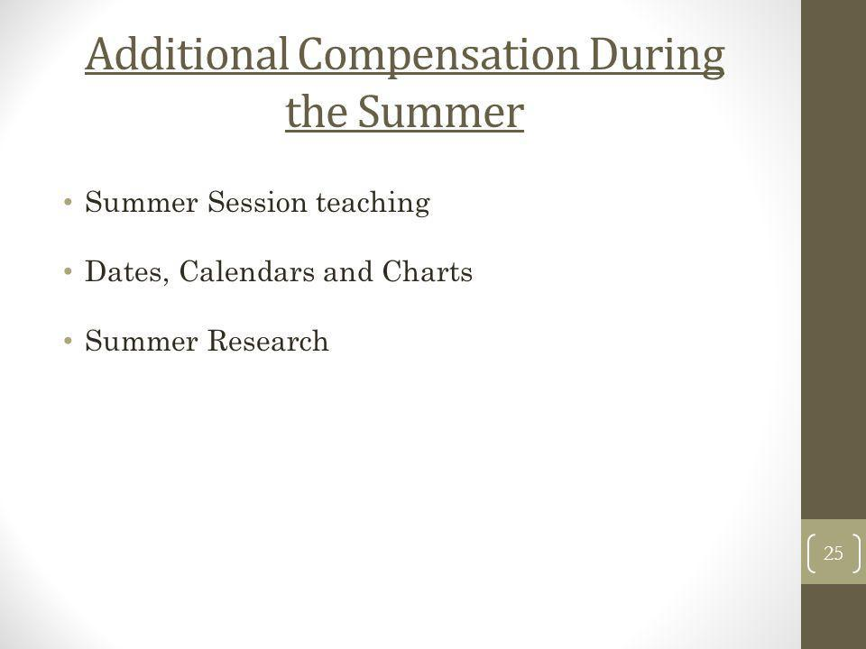 Additional Compensation During the Summer Summer Session teaching Dates, Calendars and Charts Summer Research 25