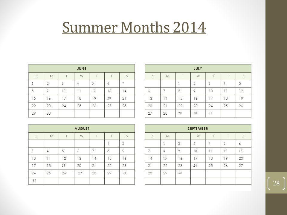 Summer Months 2014 JUNE JULY SMTWTFS SMTWTFS 1 2 34567 1 2 34 5 8 910 11 12 1314 678 9 101112 1516171819 20 21 13141516171819 22232425262728 202122232