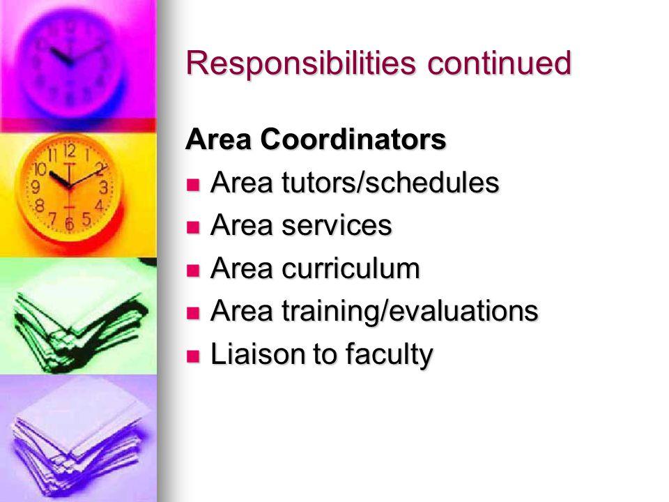 Responsibilities continued Area Coordinators Area tutors/schedules Area tutors/schedules Area services Area services Area curriculum Area curriculum Area training/evaluations Area training/evaluations Liaison to faculty Liaison to faculty