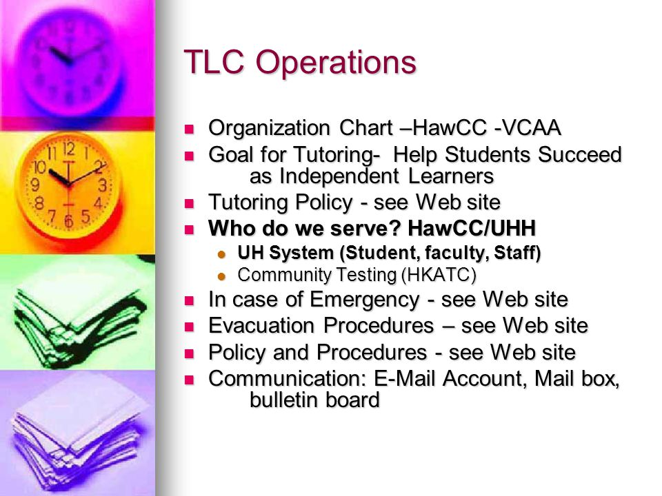 TLC Operations Organization Chart –HawCC -VCAA Organization Chart –HawCC -VCAA Goal for Tutoring- Help Students Succeed as Independent Learners Goal for Tutoring- Help Students Succeed as Independent Learners Tutoring Policy - see Web site Tutoring Policy - see Web site Who do we serve.