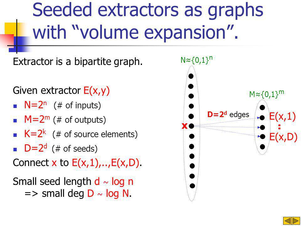 Seeded extractors as graphs with volume expansion .