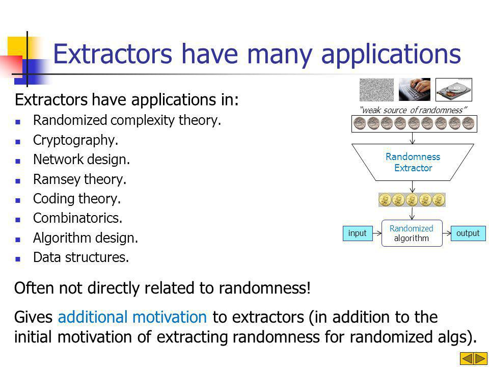Extractors have applications in: Randomized complexity theory.