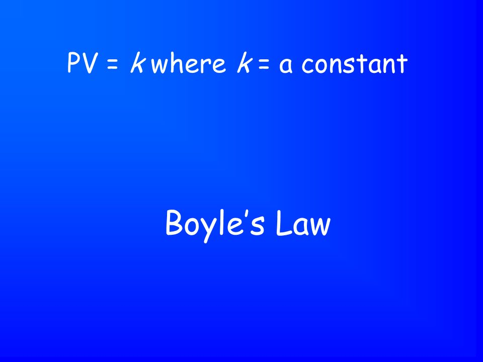 Boyle's Law PV = k where k = a constant