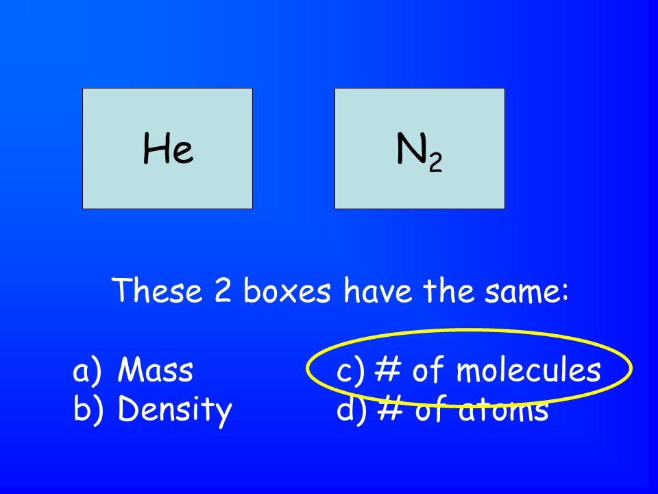 These 2 boxes have the same: a)Massc) # of molecules b)Densityd) # of atoms HeN2N2
