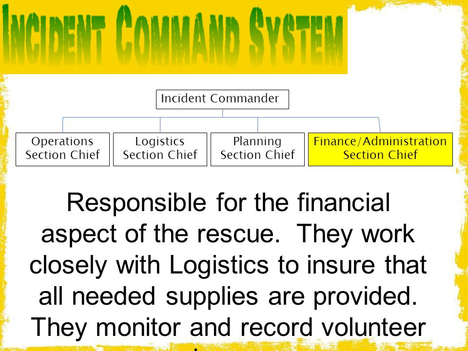 Incident Commander Operations Section Chief Logistics Section Chief Planning Section Chief Finance/Administration Section Chief Responsible for the fi