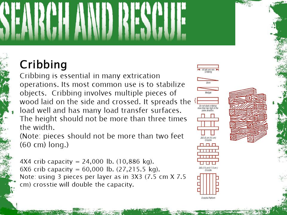 Cribbing Cribbing is essential in many extrication operations. Its most common use is to stabilize objects. Cribbing involves multiple pieces of wood