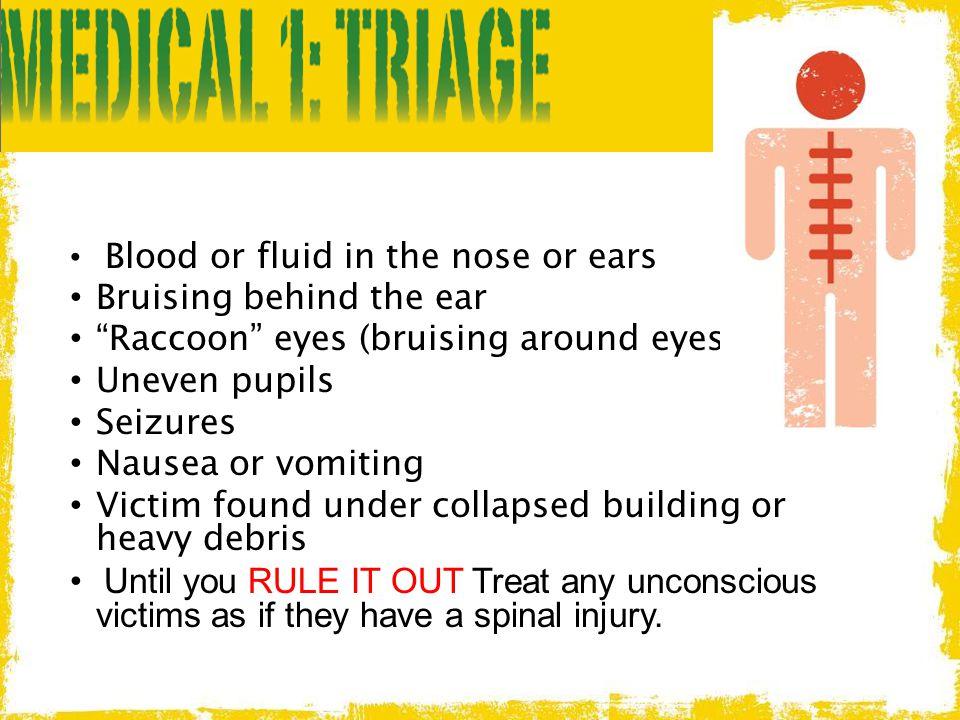 "Blood or fluid in the nose or ears Bruising behind the ear ""Raccoon"" eyes (bruising around eyes) Uneven pupils Seizures Nausea or vomiting Victim foun"