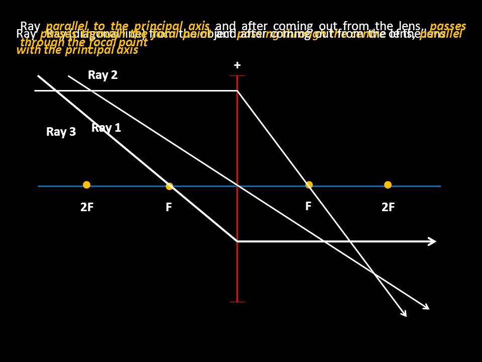 F F 2F2F + Ray (diagonal line) from the object passing through the centre of the lens Ray 1 Ray parallel to the principal axis and after coming out from the lens, passes through the focal point Ray 2 Ray passes through the focal point and after coming out from the lens, parallel with the principal axis Ray 3