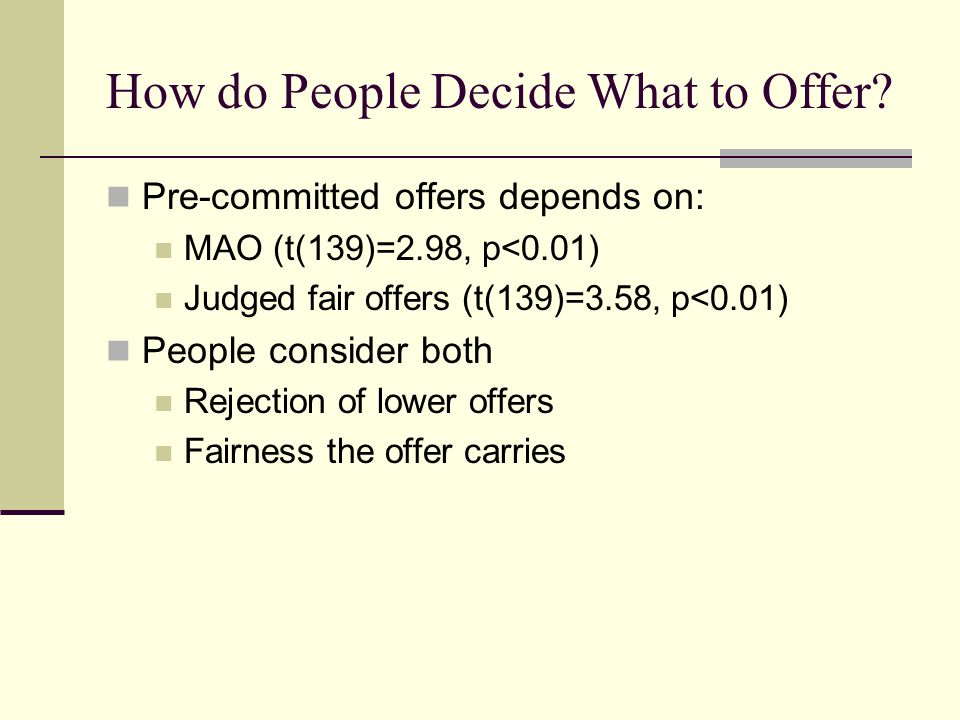 How do People Decide What to Offer.