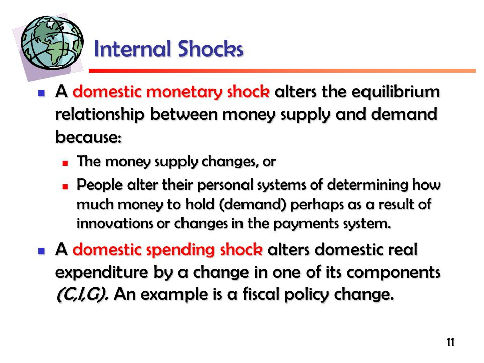 11 Internal Shocks A domestic monetary shock alters the equilibrium relationship between money supply and demand because: A domestic monetary shock alters the equilibrium relationship between money supply and demand because: The money supply changes, or The money supply changes, or People alter their personal systems of determining how much money to hold (demand) perhaps as a result of innovations or changes in the payments system.
