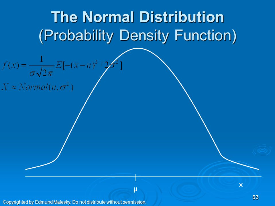 Distributions – The Usual Suspects  Normal Distribution  Standard Normal  Chi-Square  t  F 52 Copyrighted by Edmund Malesky.