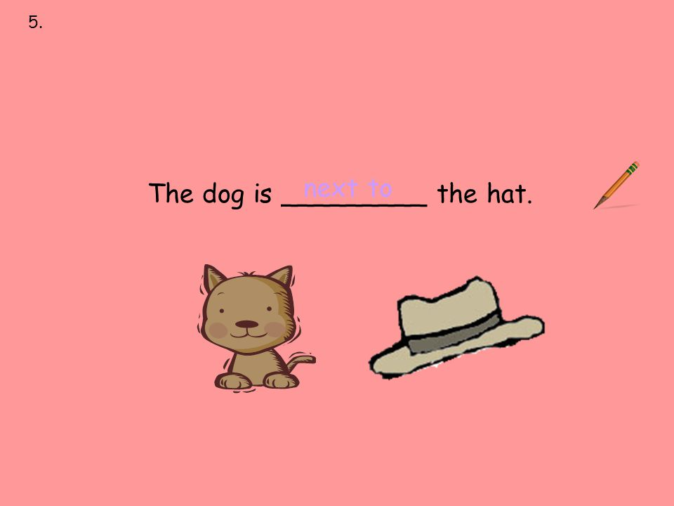 5. next to over under on behind in front of The dog is _________ the hat. next to