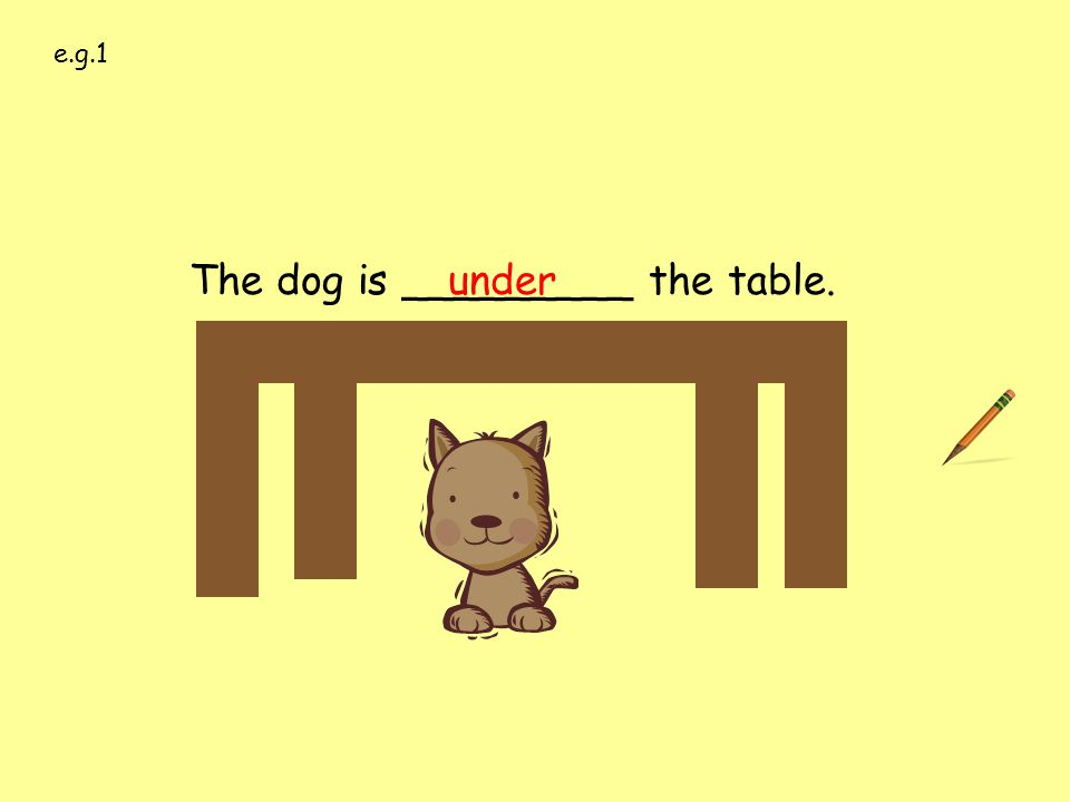 under e.g.1. The dog is _________ the table. over under on behind in front of next to