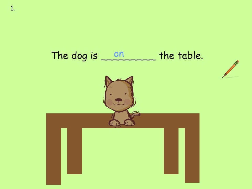 on 1. next to over under on behind in front of The dog is _________ the table.