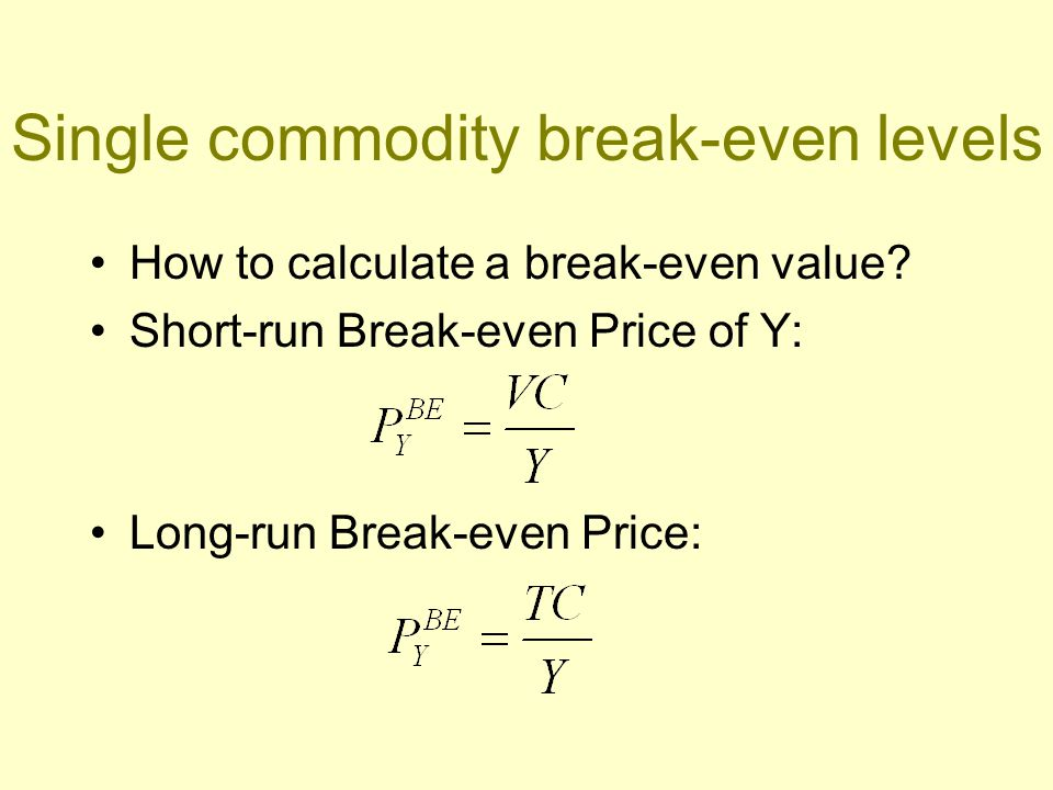 Comparing alternative enterprises Break-even price for challenger : Break-even output for challenger : How does the equation underlying these break- even rule differ from the single BE one?