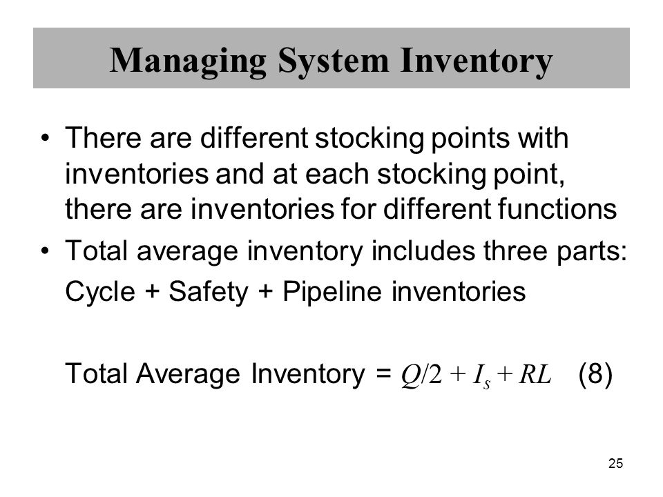 25 Managing System Inventory There are different stocking points with inventories and at each stocking point, there are inventories for different func