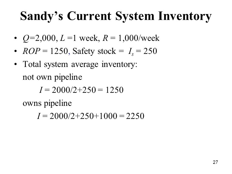27 Sandy's Current System Inventory Q=2,000, L =1 week, R = 1,000/week ROP = 1250, Safety stock = I s = 250 Total system average inventory: not own pi