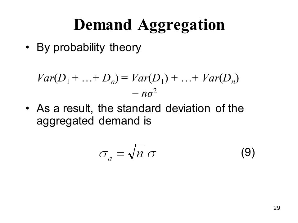 29 Demand Aggregation By probability theory Var(D 1 + …+ D n ) = Var(D 1 ) + …+ Var(D n ) = nσ 2 As a result, the standard deviation of the aggregated