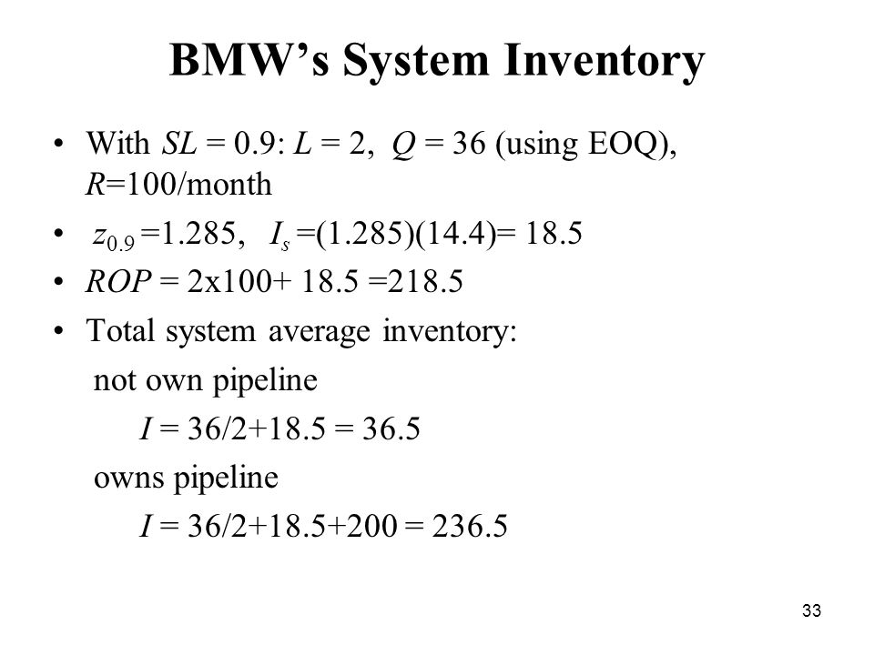 33 BMW's System Inventory With SL = 0.9: L = 2, Q = 36 (using EOQ), R=100/month z 0.9 =1.285, I s =(1.285)(14.4)= 18.5 ROP = 2x100+ 18.5 =218.5 Total