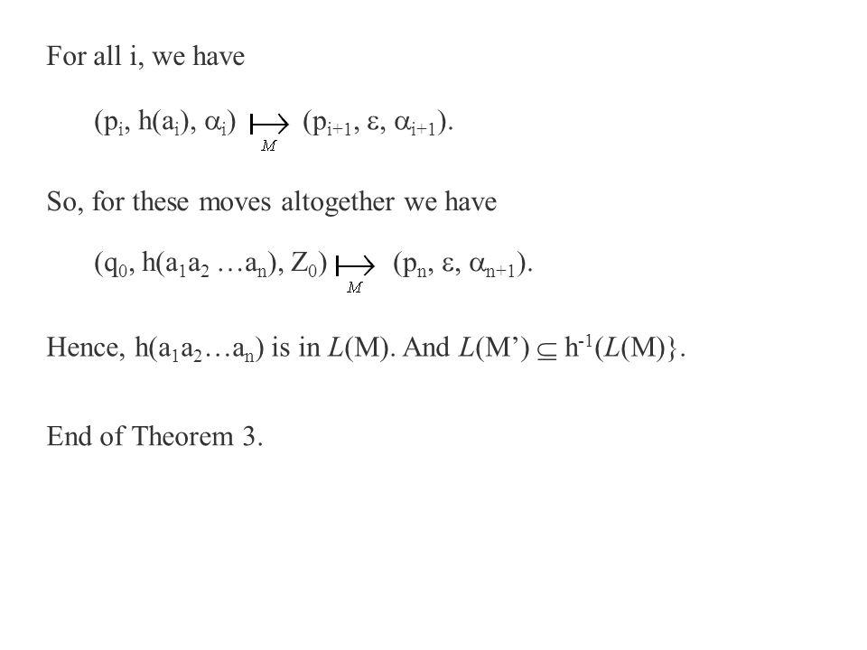 For all i, we have (p i, h(a i ),  i ) (p i+1, ,  i+1 ). So, for these moves altogether we have (q 0, h(a 1 a 2 …a n ), Z 0 ) (p n, ,  n+1 ). Hen