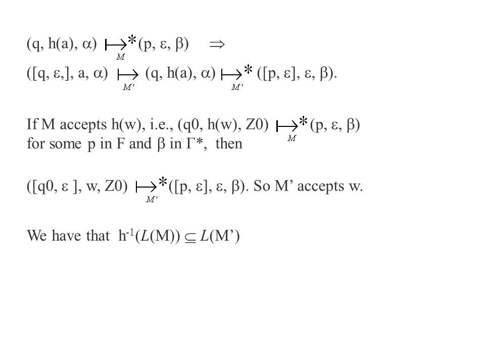 (q, h(a),  ) (p, ,  )  ([q, ,], a,  ) (q, h(a),  ) ([p,  ], ,  ). If M accepts h(w), i.e., (q0, h(w), Z0) (p, ,  ) for some p in F and  i