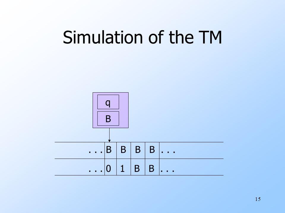 15 Simulation of the TM q B... B B B B...... 0 1 B B...
