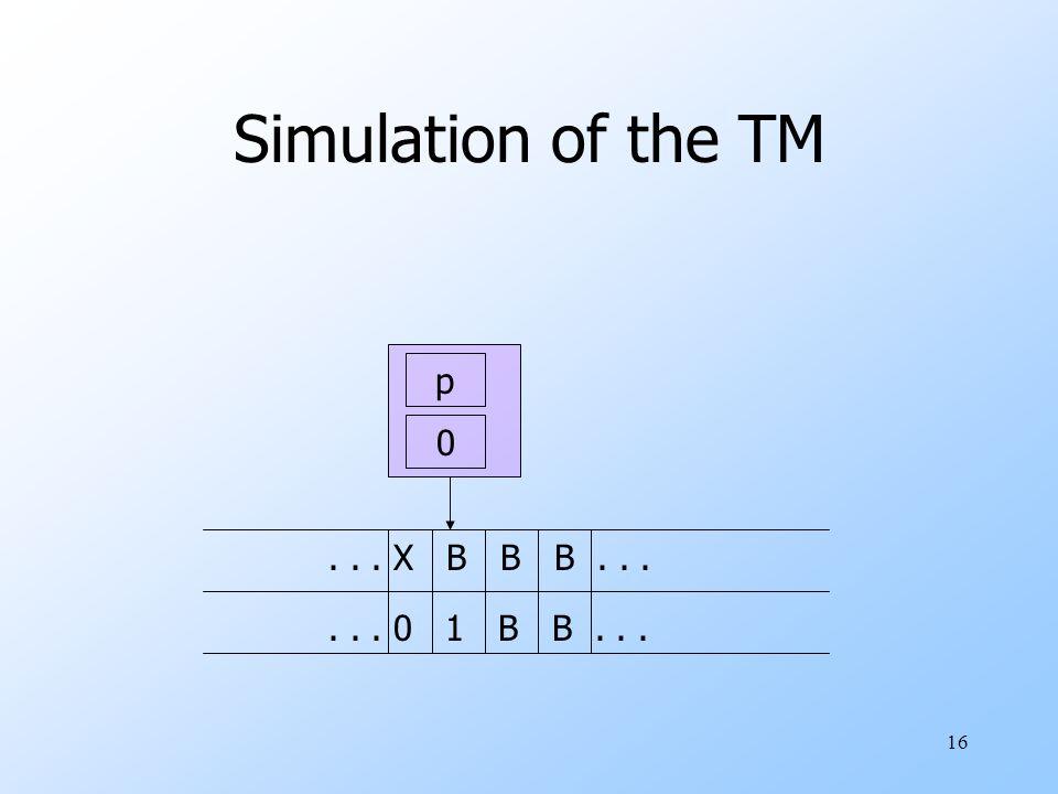 16 Simulation of the TM p 0... X B B B...... 0 1 B B...