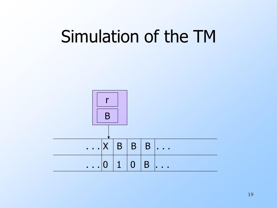 19 Simulation of the TM r B... X B B B...... 0 1 0 B...