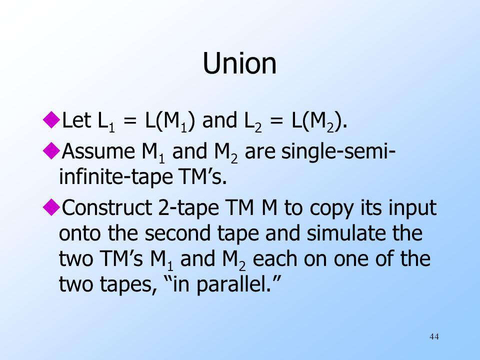 44 Union uLet L 1 = L(M 1 ) and L 2 = L(M 2 ).