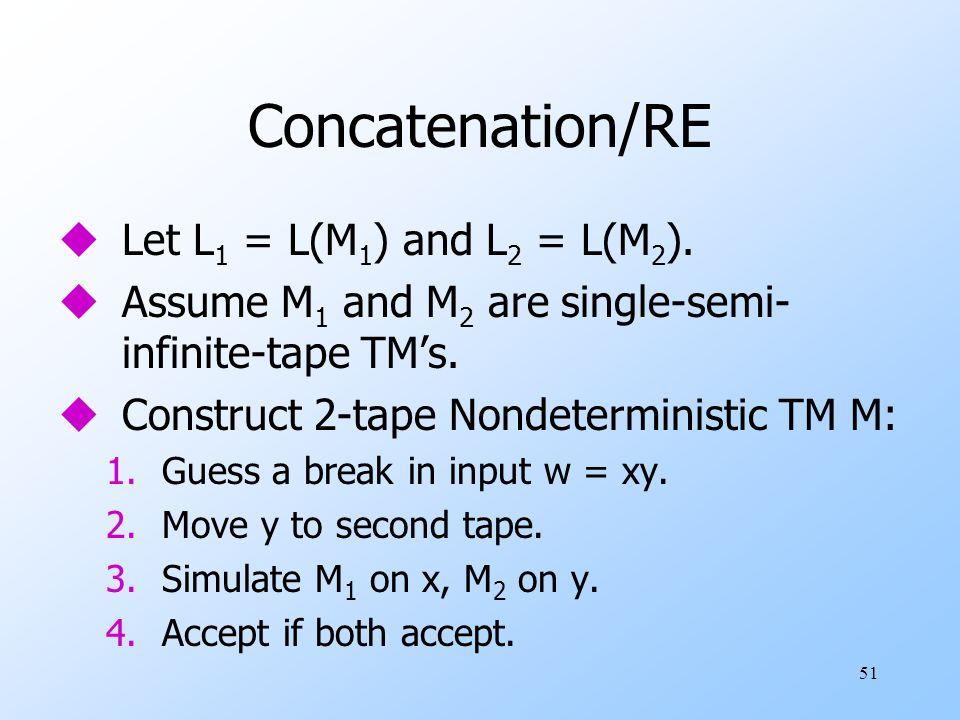 51 Concatenation/RE uLet L 1 = L(M 1 ) and L 2 = L(M 2 ).
