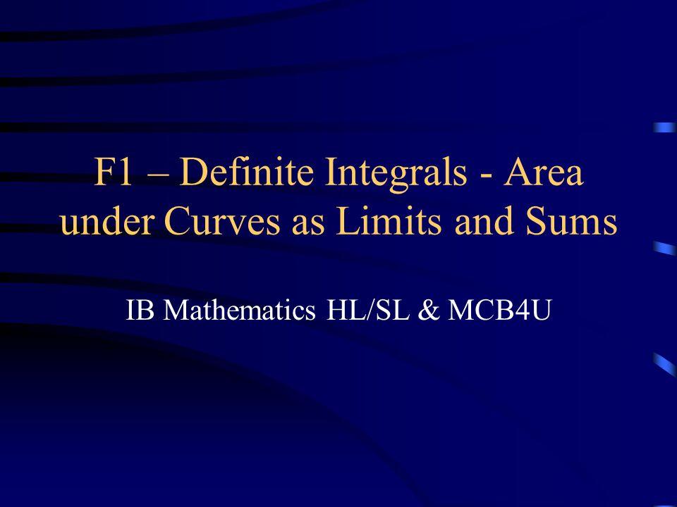 F1 – Definite Integrals - Area under Curves as Limits and Sums IB Mathematics HL/SL & MCB4U