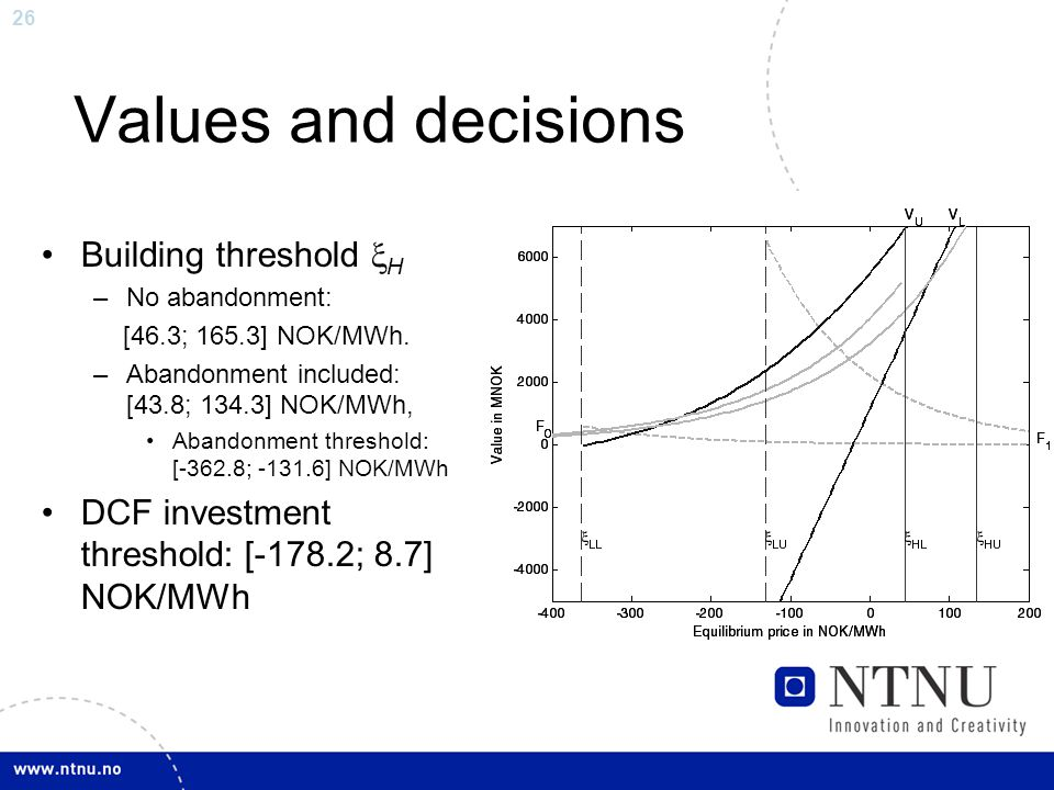 26 Values and decisions Building threshold  H –No abandonment: [46.3; 165.3] NOK/MWh.