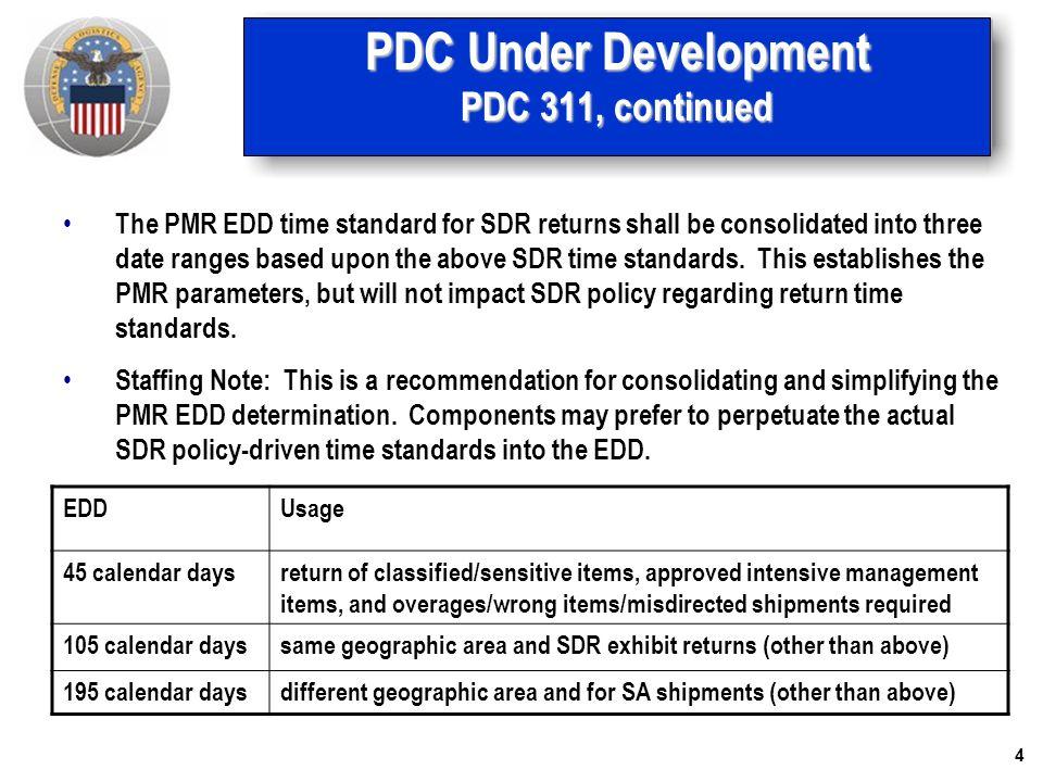 5 PDC Under Development PDC 311, continued The returning activity shall prepare DLMS materiel returns shipment status (856R) citing the status reason as discrepant materiel return.