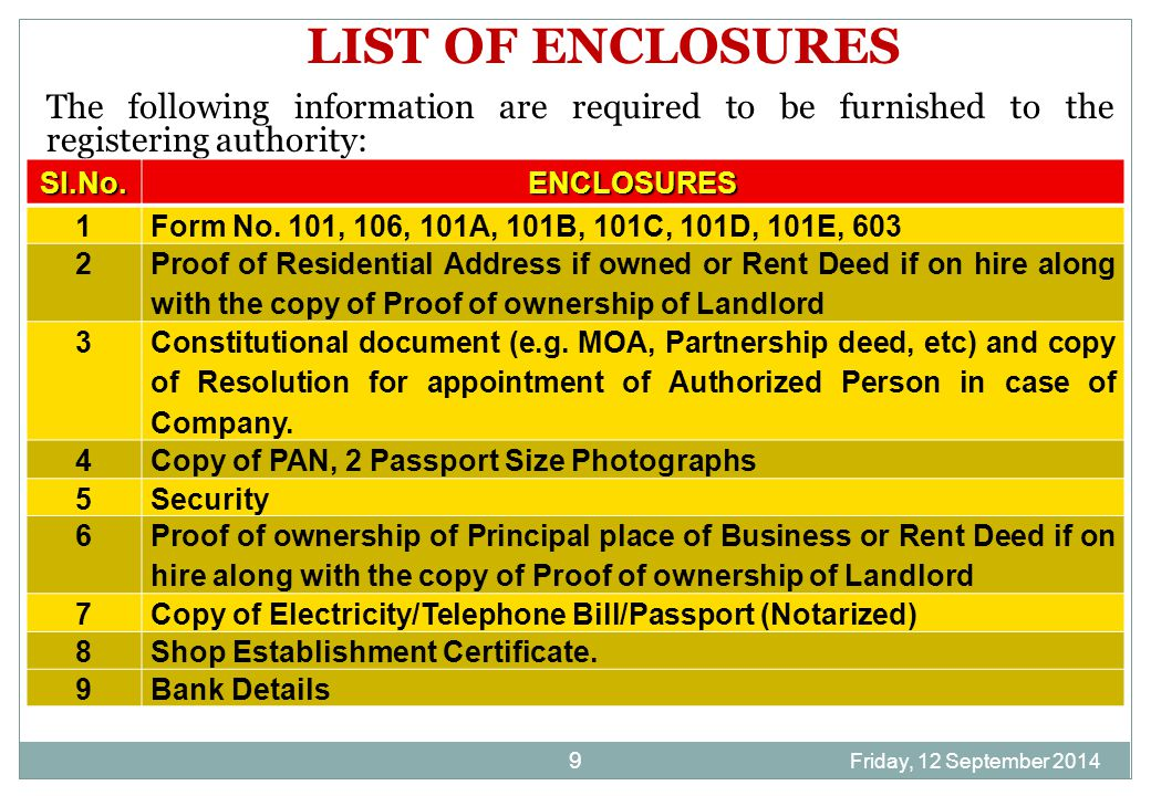 Friday, 12 September 2014 9 LIST OF ENCLOSURES The following information are required to be furnished to the registering authority: Sl.No.ENCLOSURES 1Form No.