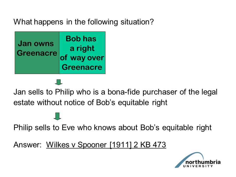 Note: the bona-fide Purchaser rule is usually referred to as THE DOCTRINE OF NOTICE TYPES OF NOTICE 1.