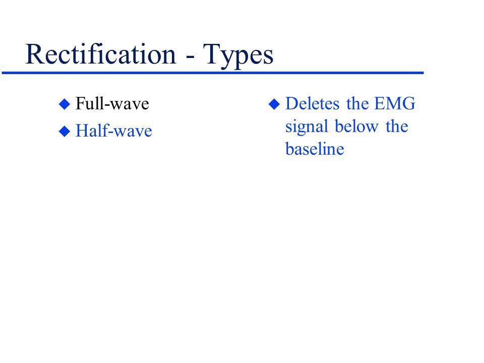 Rectification - Types u Full-wave u Half-wave u Deletes the EMG signal below the baseline