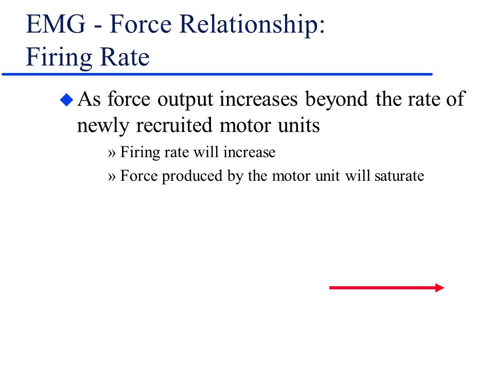 EMG - Force Relationship: Firing Rate u As force output increases beyond the rate of newly recruited motor units »Firing rate will increase »Force pro